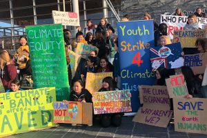 Young people call for action on climate change in a protest in Cardiff