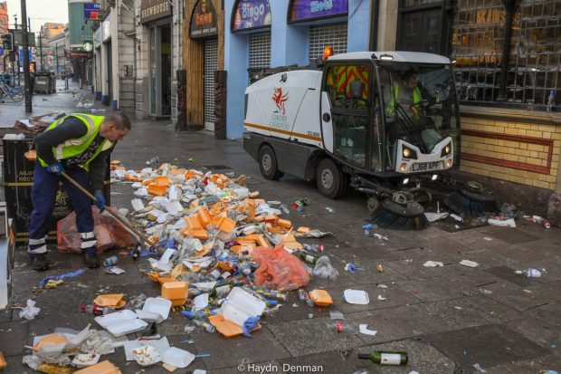 Litter left on St Mary's Street after the Six Nations Wales V England match on Saturday