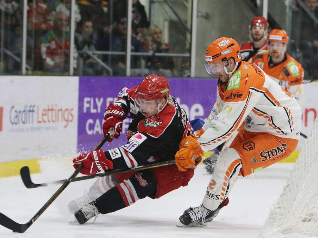 Cardiff Devils against Sheffield Steelers last Sunday.