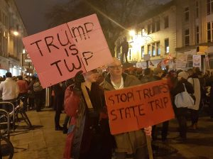 People of Cardiff protesting Trump's state visit