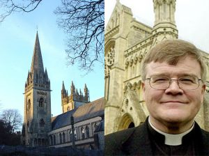 Left, Llandaff Cathedral in Cardiff, Right, Reverand Jeffrey John outside St Albans where he is a dean