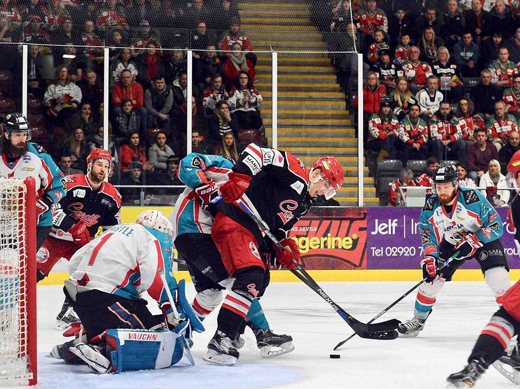 Cardiff Devils against Belfast Giants.