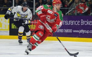 Joey Martin scores the opening goal of the game between Devils and Manchester Storm.