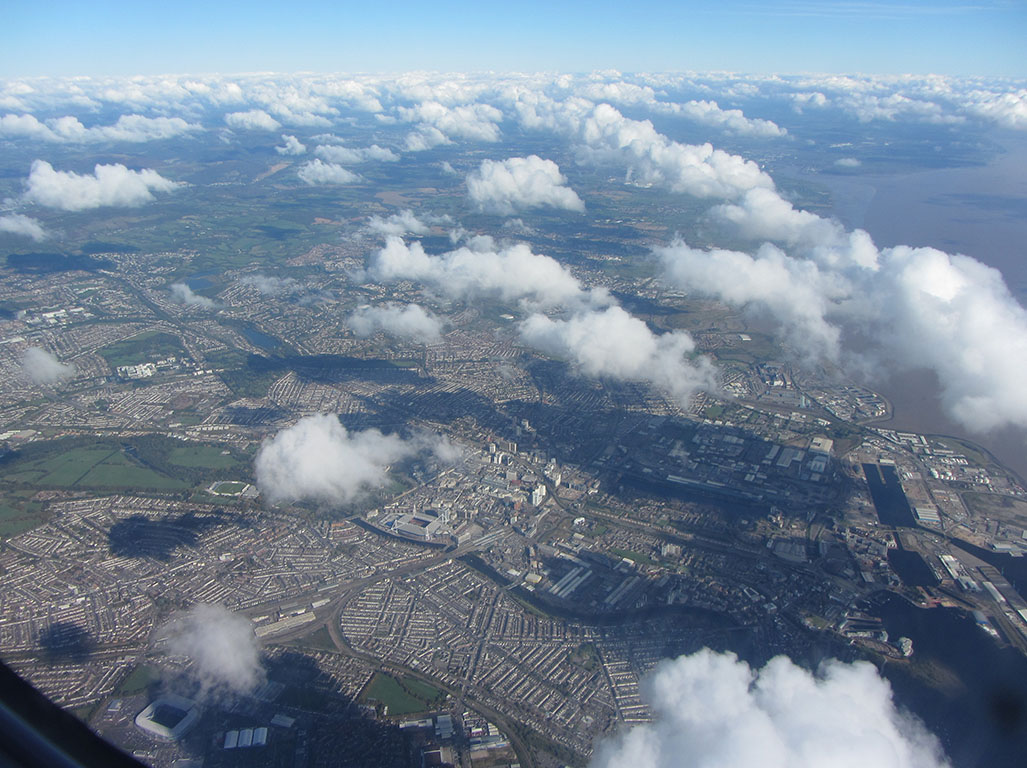 Cardiff City from the sky. Concerns have recently grown over levels of pollution in the city's air.