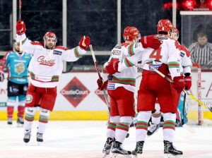 Cardiff Devils celebrate their victory over Belfast Giants.