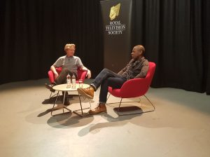 Clive Myrie with Tim Hartley at The New Atrium, University of South Wales.