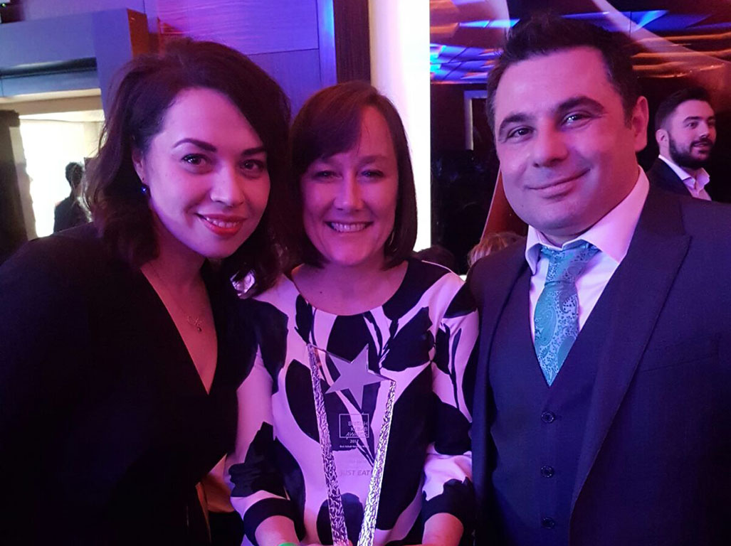 A photo of Anna and Zak Sarhan with Jo Stevens