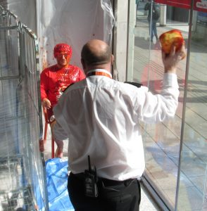 From checkout staff to security guards, everyone got involved in the ketchup throwing