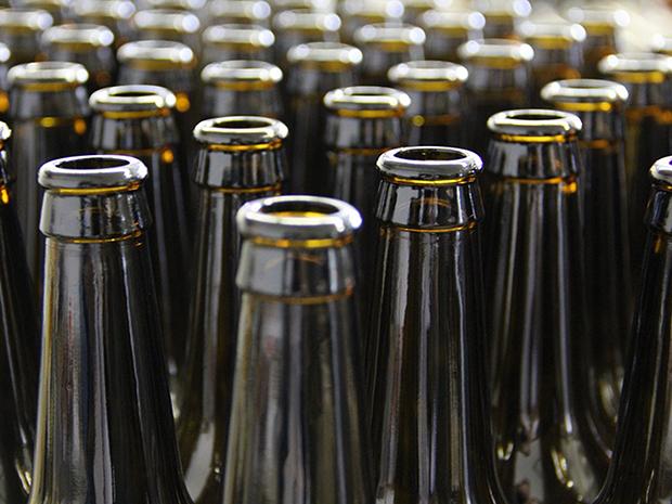 Series of empty beer bottles