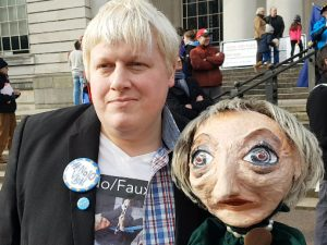 Boris Johnson impersonator, Drew Galdron, with Theresa May puppet. February 22, 2018