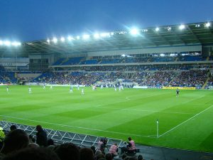 Cardiff City Stadium at dusk