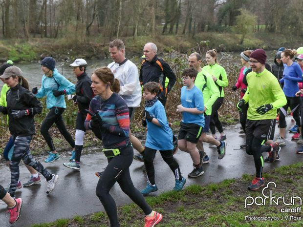 Cardiff parkrun Saturday, February 10, 2018. Runners brave all weathers. Credit: J M Ross