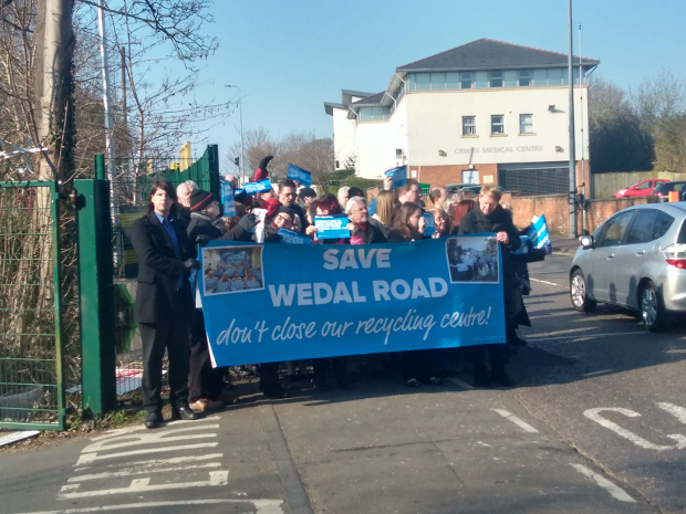 Protesters outside Wedal road