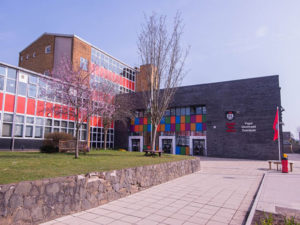 Exterior of main building at Cardiff High School