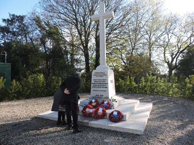 Poppies laid on Lisvane War Memorial