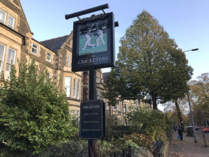 The Cricketers sign