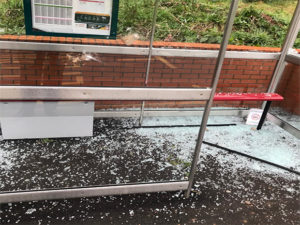 Damage at maelfa bus shelter